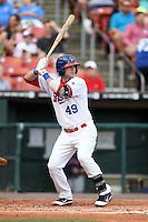 Buffalo Bisons third baseman Matt Hague (49) at bat during a game against the Pawtucket Red Sox on August 26, 2014 at Coca-Cola Field in Buffalo, New  York.  Pawtucket defeated Buffalo 9-3.  (Mike Janes/Four Seam Images)