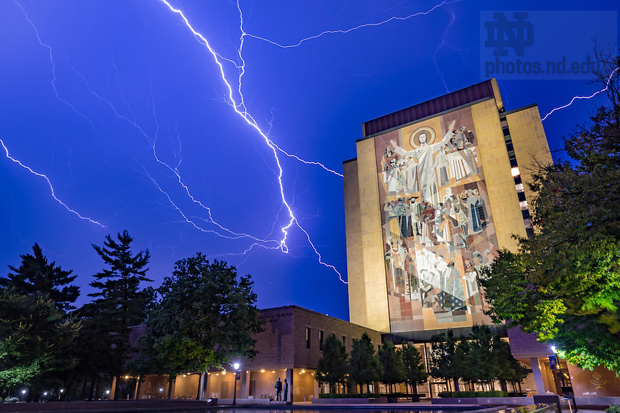 July 23, 2016; Lightning over Hesburgh Library. (Photo by Matt Cashore/University of Notre Dame)