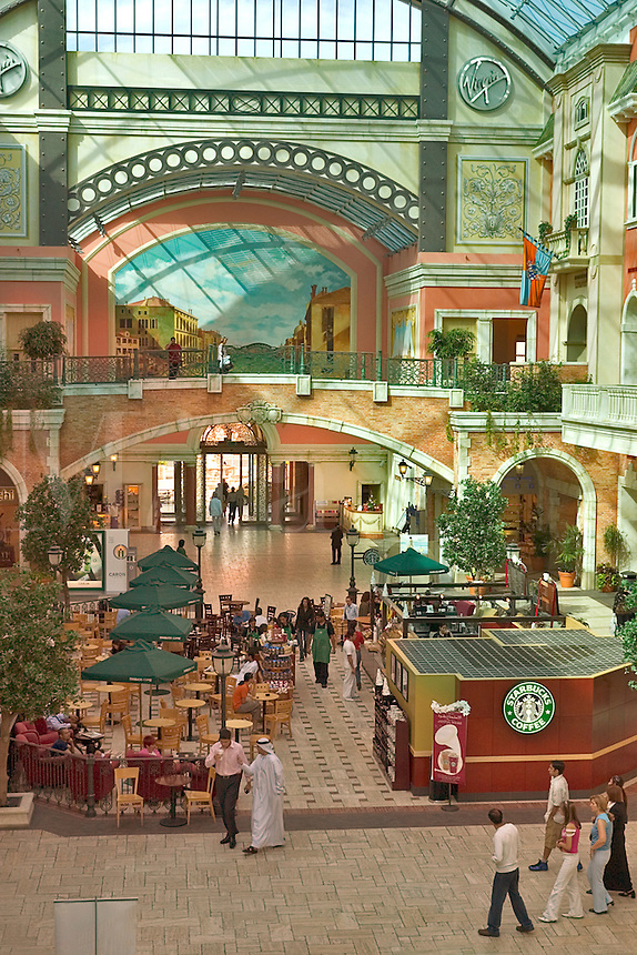 .Dubai. United Arab Emirates. Mercato Shopping Mall, interior. Cafe? and shops. Italian style..