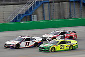 #11: Denny Hamlin, Joe Gibbs Racing, Toyota Camry FedEx Freight, #21: Matt DiBenedetto, Wood Brothers Racing, Ford Mustang Menards/Quaker State and #20: Erik Jones, Joe Gibbs Racing, Toyota Camry Built In Kentucky