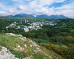 County Galway, Ireland<br /> Village of Clifden from Founder's Hill with the mountains of the Twelve Bens in the distance