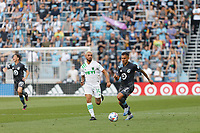 SAINT PAUL, MN - JUNE 23: Franco Fragapane #7 of Minnesota United FC and Diego Fagundez #14 of Austin FC battle for the ball during a game between Austin FC and Minnesota United FC at Allianz Field on June 23, 2021 in Saint Paul, Minnesota.