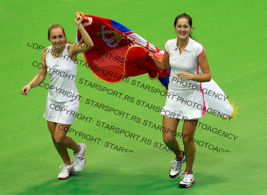 Bojana Jovanovski and Aleksandra Krunic  Fed Cup Serbia vs Canada, World group II, first round, Novi Sad, Serbia, SPENS Sports Center, Sunday, February 06, 2011. (photo: Srdjan Stevanovic)(credit image & photo: Pedja Milosavljevic / +381 64 1260 959 / thepedja@gmail.com )