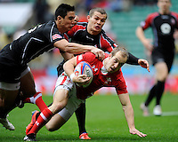 Lee Williams of Wales scores a try during the iRB Marriott London Sevens at Twickenham on Saturday 11th May 2013 (Photo by Rob Munro)