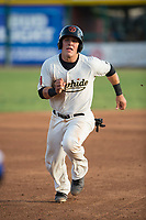 Visalia Rawhide catcher Daulton Varsho (9) hustles to third base during a California League game against the Stockton Ports at Visalia Recreation Ballpark on May 8, 2018 in Visalia, California. Stockton defeated Visalia 6-2. (Zachary Lucy/Four Seam Images)