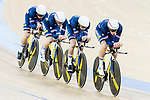 The team of France with Thomas Denis, Corentin Ermenault, Florian Maitre and Benjamin Thomas compete in the Men's Team Pursuit - Qualifying match as part of the Men's Team Pursuit - Qualifying match as part of the 2017 UCI Track Cycling World Championships on 12 April 2017, in Hong Kong Velodrome, Hong Kong, China. Photo by Victor Fraile / Power Sport Images