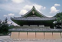 Nara: Horyuji Temple. Building to right of passage from South Gate to Middle Gate. Photo '82.