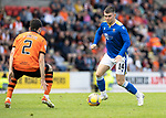 St Johnstone v Dundee United…22.08.21  McDiarmid Park    SPFL<br />Glen Middleton breaks forward<br />Picture by Graeme Hart.<br />Copyright Perthshire Picture Agency<br />Tel: 01738 623350  Mobile: 07990 594431
