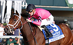"""LEXINGTON, KY - October 6, 2017.  #9 Heavenly Love and jockey Julien Leparoux win the 66th running of The Darley Alcibiades Grade 1 $400,000 """"Win and You're In Breeders' Cup Juvenile Fillies Division"""" for owner Debby Oxley and trainer Mark Casse.  Lexington, Kentucky. (Photo by Candice Chavez/Eclipse Sportswire/Getty Images)"""