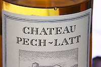White wine. Chateau Pech-Latt. Near Ribaute. Les Corbieres. Languedoc. France. Europe. Bottle.