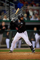 Batavia Muckdogs Michael Hernandez (29) at bat during a NY-Penn League Semifinal Playoff game against the Lowell Spinners on September 4, 2019 at Dwyer Stadium in Batavia, New York.  Batavia defeated Lowell 4-1.  (Mike Janes/Four Seam Images)