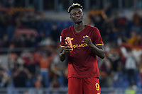 23rd September 2021;  Stadio Olimpicom, Roma, Italy; Serie A League Football, Roma versus Udinese; Tammy Abraham of AS Roma celebrates the victory at the end of the match
