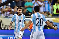 Foxborough, MA - Saturday June 18, 2016: Lionel Messi celebrates scoring during a Copa America Centenario quarterfinal match between Argentina (ARG) and Venezuela (VEN)  at Gillette Stadium.
