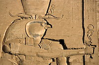 The ancient Egyptian god Horus sculpted on the wall of the First Pylon at the Temple of Edfu, Edfu, Egypt.