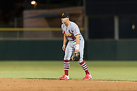 Surprise Saguaros second baseman Andy Young (29), of the St. Louis Cardinals organization, during an Arizona Fall League game against the Scottsdale Scorpions at Scottsdale Stadium on October 15, 2018 in Scottsdale, Arizona. Surprise defeated Scottsdale 2-0. (Zachary Lucy/Four Seam Images)