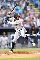 West Virginia Power shortstop Joseph Rosa (2) swings at a pitch during a game against the Asheville Tourists at McCormick Field on April 18, 2019 in Asheville, North Carolina. The Power defeated the Tourists 12-7. (Tony Farlow/Four Seam Images)