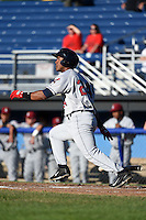 Mahoning Valley Scrappers catcher Juan De La Cruz (24) at bat during a game against the Batavia Muckdogs on June 21, 2014 at Dwyer Stadium in Batavia, New York.  Batavia defeated Mahoning Valley 10-6.  (Mike Janes/Four Seam Images)