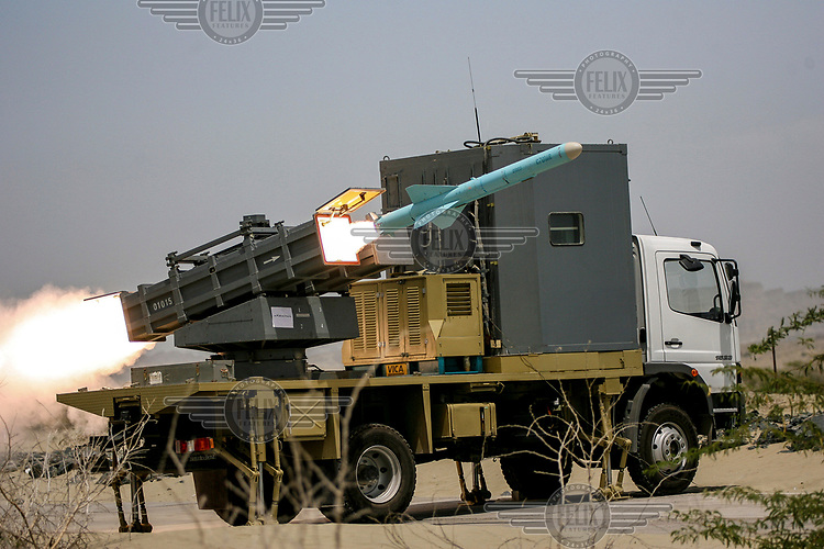 A Noor mobile missile is launched during war games in southern Iran.