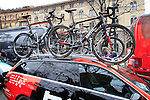 BMC Racing Team bikes lined up at the start of the 104th edition of the Milan-San Remo cycle race at Castello Sforzesco in Milan, 17th March 2013 (Photo by Eoin Clarke 2013)