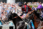 ARLINGTON HEIGHTS, IL - AUGUST 13: Florent Geroux, aboard Beach Patrol #9, celebrates after winning the Secretariat Stakes at Arlington International Racecourse on August 13, 2016 in Arlington Heights, Illinois. (Photo by Jon Durr/Eclipse Sportswire/Getty Images)