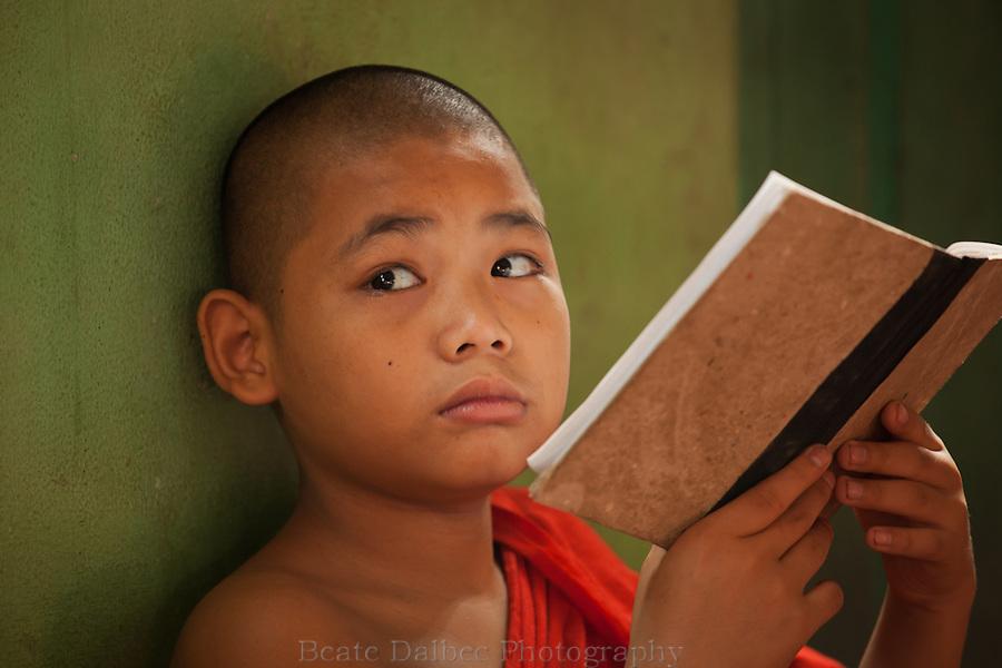 young monk in a monastery in Yangon, Myanmar