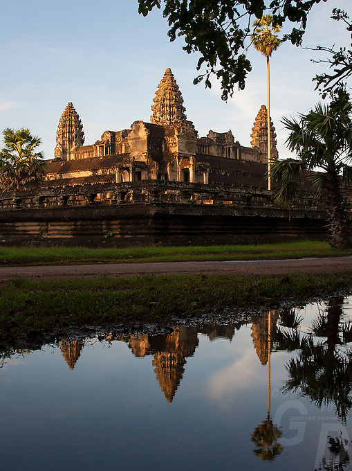 Early morning view towards Angkor Wat from the Eastern side, Cambodia