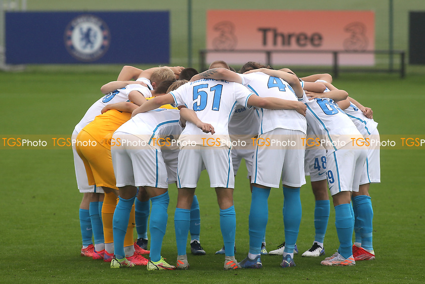 Zenit St Petersburg players form a huddle ahead of kick-off during Chelsea Under-19 vs FC Zenit Under-19, UEFA Youth League Football at Cobham Training Ground on 14th September 2021