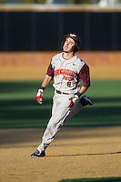 Alex Perez (8) of the Virginia Tech Hokies hustles towards third base against the Wake Forest Demon Deacons in game two of a doubleheader at Wake Forest Baseball Park on March 7, 2015 in Winston-Salem, North Carolina.  (Brian Westerholt/Four Seam Images)