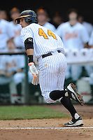 Designated Hitter Wes Walker #44 runs to first during a  game against the Kentucky Wildcats at Lindsey Nelson Stadium on March 24, 2012 in Knoxville, Tennessee. The game was suspended in the bottom of the 5th with the Wildcats leading 5-0. Tony Farlow/Four Seam Images.