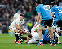 Ben Youngs of England passes during the RBS 6 Nations match between England and Italy at Twickenham Stadium on Saturday 14th February 2015 (Photo by Rob Munro)