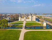 France, Loiret, Loire Valley listed as World Heritage by UNESCO, Sully sur Loire, Chateau de Sully sur Loire, 14th-18th century, castle and park (aerial view) // France, Loiret (45), Val de Loire classé Patrimoine Mondial de l'UNESCO, Sully-sur-Loire, Château de Sully-sur-Loire, XIVe-XVIIIe siècles, château et parc (vue aérienne)