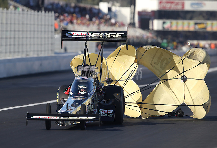 Feb. 16, 2013; Pomona, CA, USA; NHRA top fuel dragster driver Brittany Force during qualifying for the Winternationals at Auto Club Raceway at Pomona.. Mandatory Credit: Mark J. Rebilas-