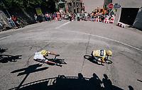 Chris Froome (GBR/SKY) turning into a tight corner<br /> <br /> 104th Tour de France 2017<br /> Stage 16 - Le Puy-en-Velay › Romans-sur-Isère (165km)
