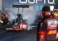 Jul. 25, 2014; Sonoma, CA, USA; NHRA top fuel driver J.R. Todd during qualifying for the Sonoma Nationals at Sonoma Raceway. Mandatory Credit: Mark J. Rebilas-