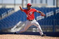 Washington Nationals pitcher Niomar Gomez (46) during an Instructional League game against the Miami Marlins on September 26, 2019 at FITTEAM Ballpark of The Palm Beaches in Palm Beach, Florida.  (Mike Janes/Four Seam Images)