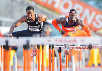 May 25, 2013: Durell Busby of Wis.-Milwaukee #1639 and Vanier Joseph of Illinois #467 compete in 110 meters hurdles quarterfinal during NCAA Outdoor Track & Field Championships West Preliminary at Mike A. Myers Stadium in Austin, TX.