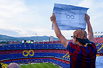 A Barca supporter shows a message for Andres Iniesta during the La Liga match between Barcelona and Real Sociedad at Camp Nou on May 20, 2018 in Barcelona, Spain. Photo by Vicens Gimenez / Power Sport Images