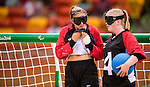 Meghan Mahon and Ashlie Andrews, Rio 2016 - Goalball. <br /> Team Canada competes in Women's Goalball preliminary against China // Équipe Canada participe aux préliminaires du goalball féminin contre la Chine. 12/09/2016.