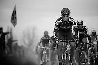 De Ronde van Vlaanderen 2012..peloton riding over Doorn cobble section