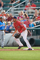 Harrisburg Senators first baseman Drew Ward (17) during a game against the Akron RubberDucks on August 18, 2018 at FNB Field in Harrisburg, Pennsylvania.  Akron defeated Harrisburg 5-1.  (Mike Janes/Four Seam Images)