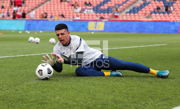 SANDY, UT - JUNE 10: David Ochoa #19 of the United States warming upS before a game between Costa Rica and USMNT at Rio Tinto Stadium on June 10, 2021 in Sandy, Utah.