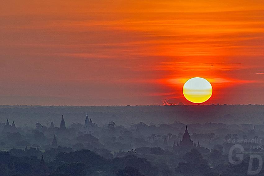 Sunrise over Bagan from the Shwe San Daw Pagoda, Myanmar
