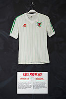 Keri Andrews' 1983/85 Wales third shirt is displayed at The Art of the Wales Shirt Exhibition at St Fagans National Museum of History in Cardiff, Wales, UK. Monday 11 November 2019