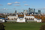 Great Britain, London: Greenwich, View from Greenwich Park in Autumn over to the Royal Naval College, Queen`s House and the towers of Canary Wharf