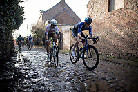 over the roughest (and slippery) cobbled section<br /> <br /> 53rd Le Samyn 2021<br /> ME (1.1)<br /> 1 day race from Quaregnon to Dour (BEL/205km)<br /> <br /> ©kramon