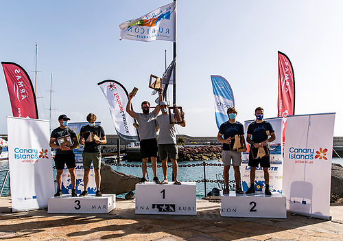 On the podium - the Irish 49er medal race winners finish third overall and Tokyo Olympic qualification Photo: Sailing Energy