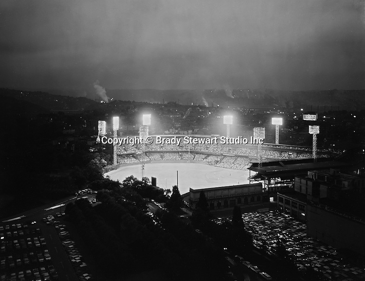Pittsburgh PA:  View of Forbes Field from the University of Pittsburgh Cathedral of Learning in June 1960.  Later in the season, the Pirates would win the World Series by beating the New York Yankees in seven games.