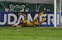 PALMIRA - COLOMBIA, 19-09-2018: Camilo Vargas, guardameta de Deportivo Cali, se lanza por el balón, durante partido entre Deportivo Cali (COL) y Liga Deportiva Universitaria de Quito (ECU), de los octavos de final, llave H, por la Copa Conmebol Sudamericana 2018, jugado en el estadio Deportivo Cali (Palmaseca) en la ciudad de Palmira. / Camilo Vargas, goalkeeper of Deportivo Cali, dives por the ball, during a match between Deportivo Cali (COL) and Liga Deportiva Universitaria de Quito (ECU), of eighth finals, key H, for the Copa Conmebol Sudamericana 2018, at the Deportivo Cali (Palmaseca) stadium in Palmira city. Photo: VizzorImage / Luis Ramirez / Staff.