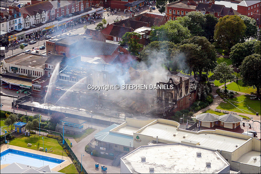 PHOTO BY  ©Stephen Daniels 17/08/2007<br /> Fire damage on the Sea front nr Clock tower, Skegness, Lincs