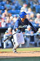 Asheville Tourists Daniel Montano (24) swings at a pitch during a game against the Columbia Fireflies at McCormick Field on June 22, 2019 in Asheville, North Carolina. The Tourists defeated the Fireflies 6-5. (Tony Farlow/Four Seam Images)